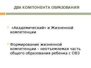 ДВА КОМПОНЕНТА ОБРАЗОВАНИЯ  «Академический» и Жизненной компетенции   Форми