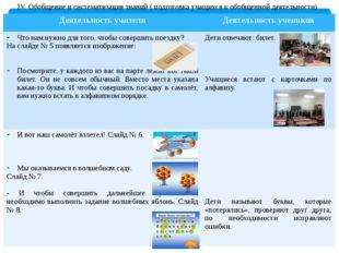 IV. Обобщение и систематизация знаний ( подготовка учащихся к обобщенной дея