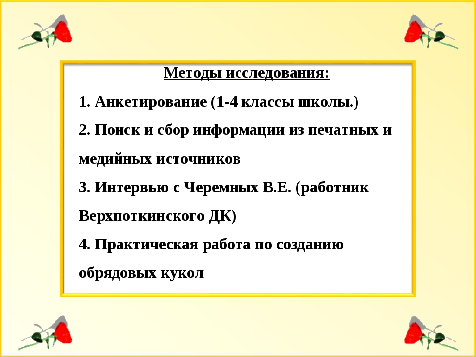 Методы исследования: Анкетирование (1-4 классы школы.) Поиск и сбор информаци...