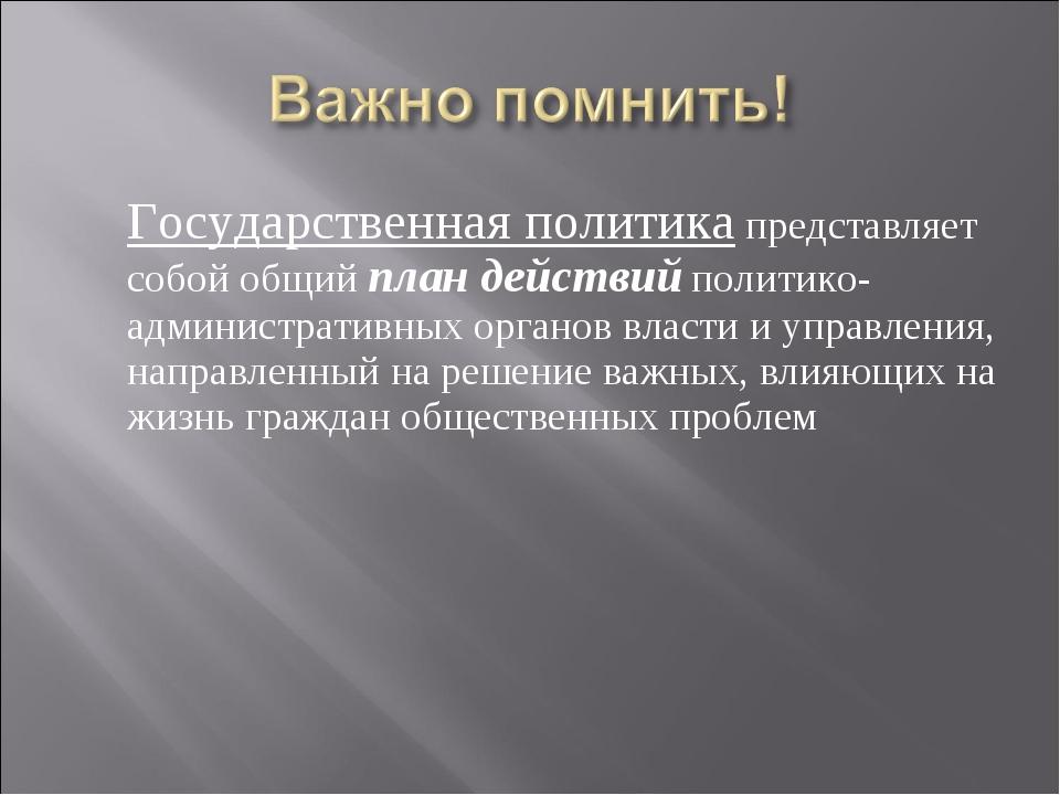 Государственная политика представляет собой общий план действий политико-адм...