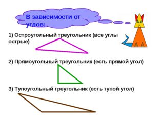В зависимости от углов: 1) Остроугольный треугольник (все углы острые) 2) Пря