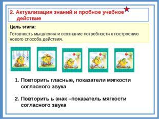 2. Актуализация знаний и пробное учебное действие Цель этапа: Готовность мышл