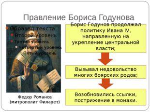 Правление Бориса Годунова Федор Романов (митрополит Филарет) Борис Годунов пр
