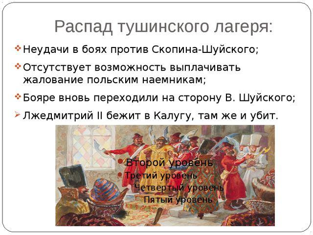 Распад тушинского лагеря: Неудачи в боях против Скопина-Шуйского; Отсутствует...