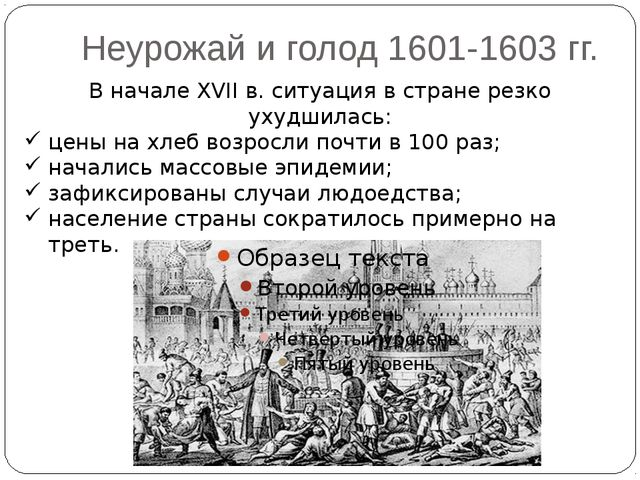 Неурожай и голод 1601-1603 гг. В начале XVII в. ситуация в стране резко ухудш...