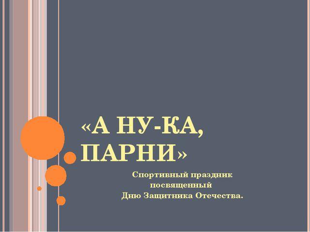 «А НУ-КА, ПАРНИ» Спортивный праздник посвященный Дню Защитника Отечества.