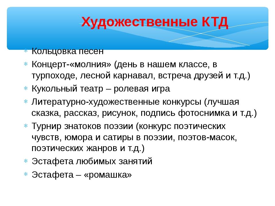 Художественные КТД Кольцовка песен Концерт-«молния» (день в нашем классе, в т...