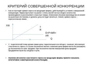 КРИТЕРИЙ СОВЕРШЕННОЙ КОНКУРЕНЦИИ Как же выглядит кривая спроса на продукцию ф