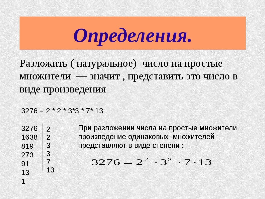 План конспект урока разложение натурального числа на простые множители