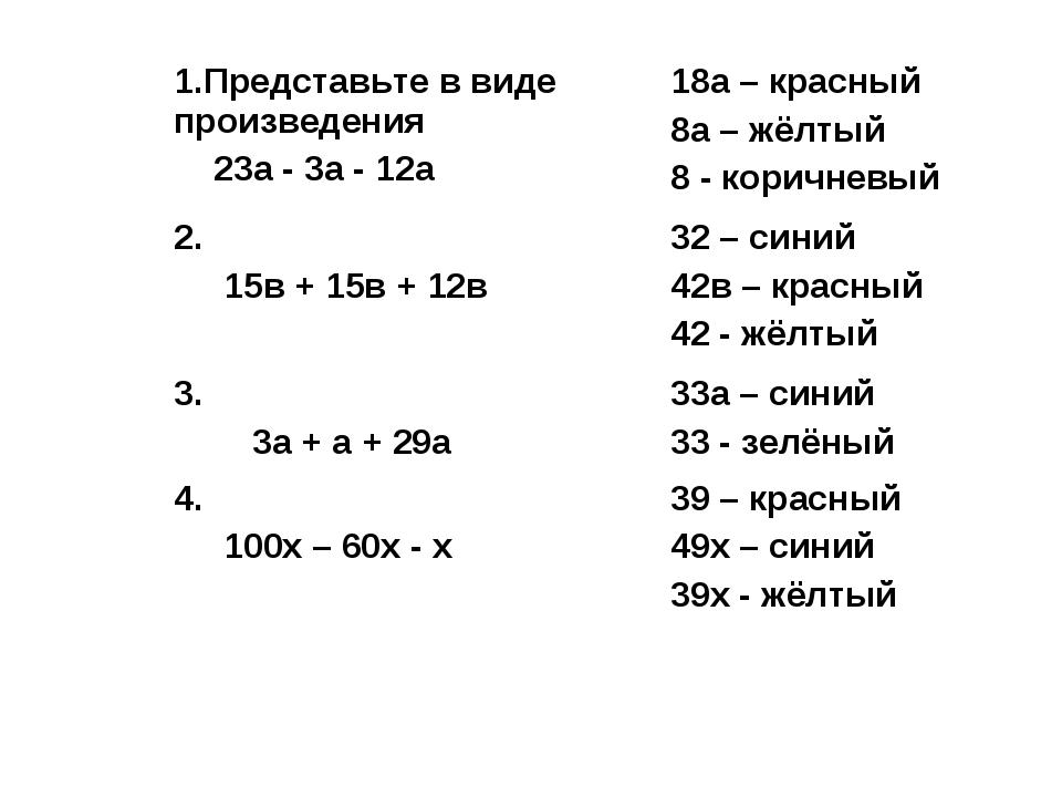 1.Представьте в виде произведения 23а - 3а - 12а18а – красный 8а – жёлтый 8...