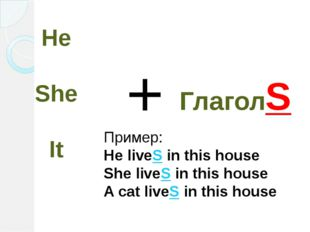 He She It + ГлаголS Пример: He liveS in this house She liveS in this house A