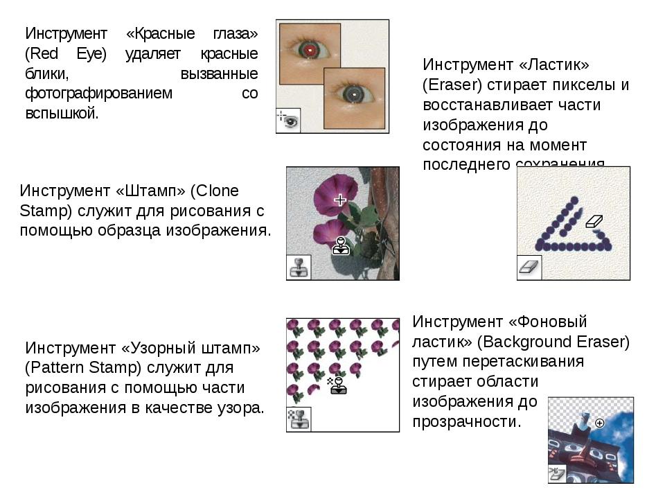 Инструмент «Красные глаза» (Red Eye) удаляет красные блики, вызванные фотогра...