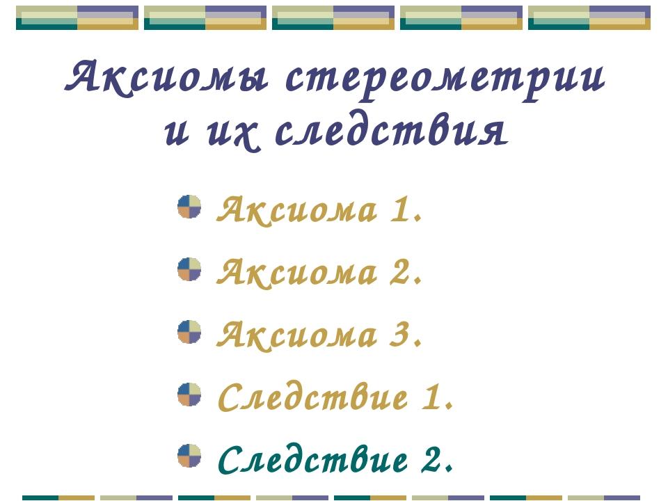 Аксиомы стереометрии и их следствия Аксиома 1. Аксиома 2. Аксиома 3. Следстви...