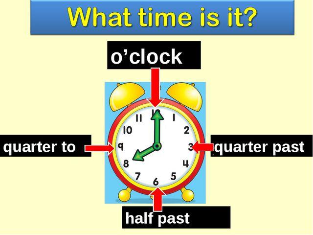 o'clock quarter past quarter to half past