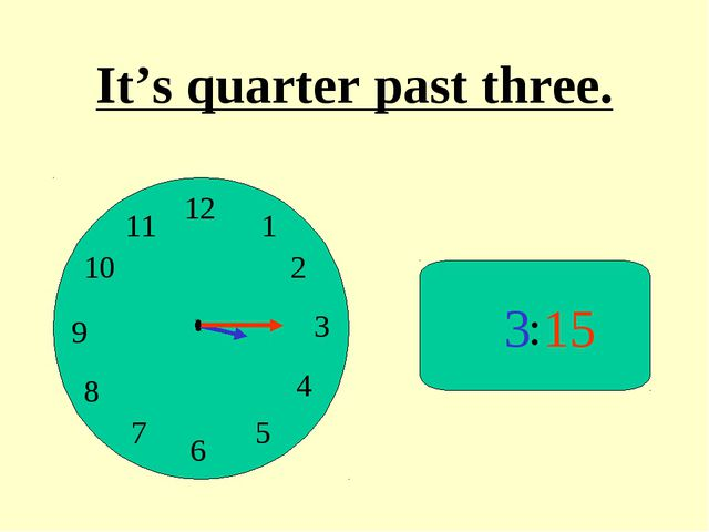 : 3 15 It's quarter past three.