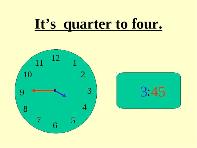 : 3 45 It's quarter to four.
