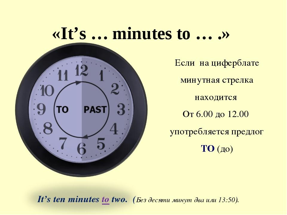 «It's … minutes to … .» Если на циферблате минутная стрелка находится От 6.00...