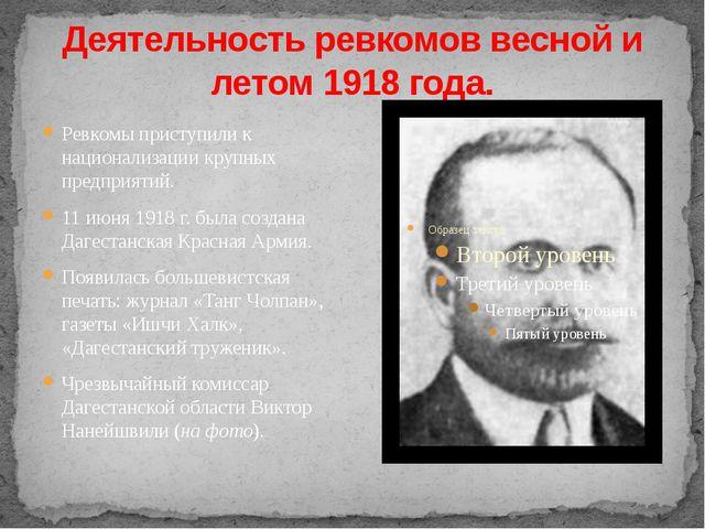 Деятельность ревкомов весной и летом 1918 года. Ревкомы приступили к национал...