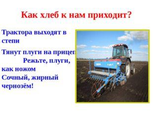 Как хлеб к нам приходит? Трактора выходят в степи Тянут плуги на прицепе Режь