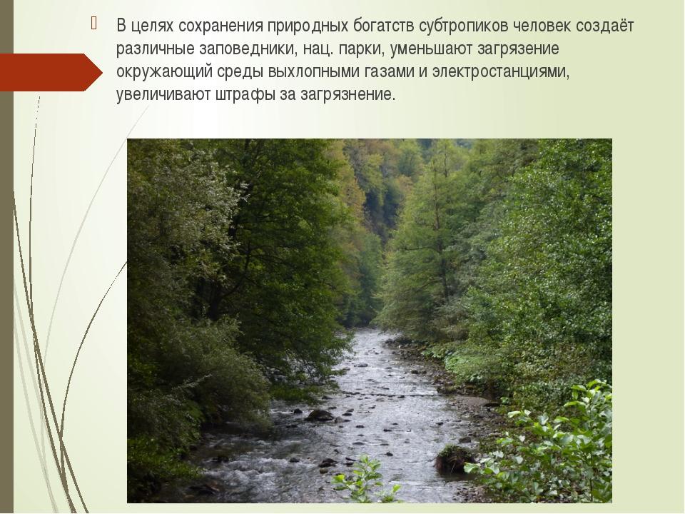 В целях сохранения природных богатств субтропиков человек создаёт различные з...