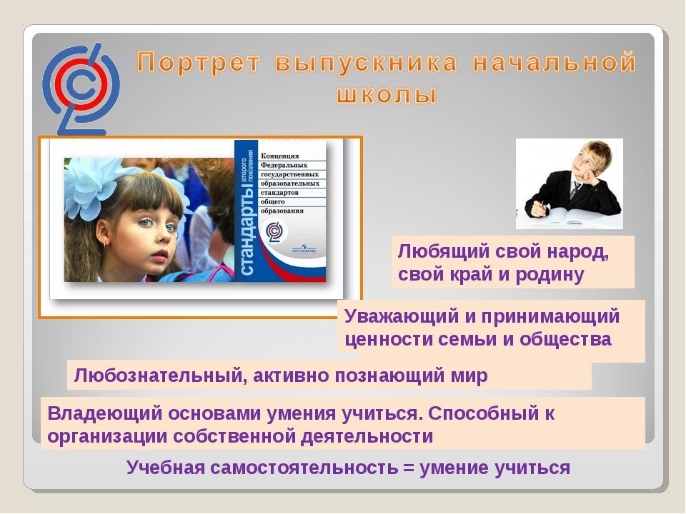 Учебная самостоятельность = умение учиться Уважающий и принимающий ценности с...