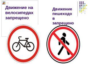 Движение на велосипедах запрещено Движение пешеходов запрещено