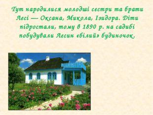 Тут народилися молодші сестри та брати Лесі— Оксана, Микола, Ізидора. Діти