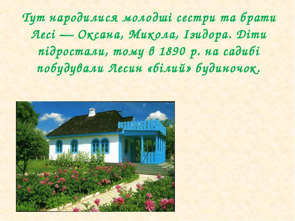 Тут народилися молодші сестри та брати Лесі— Оксана, Микола, Ізидора. Діти...