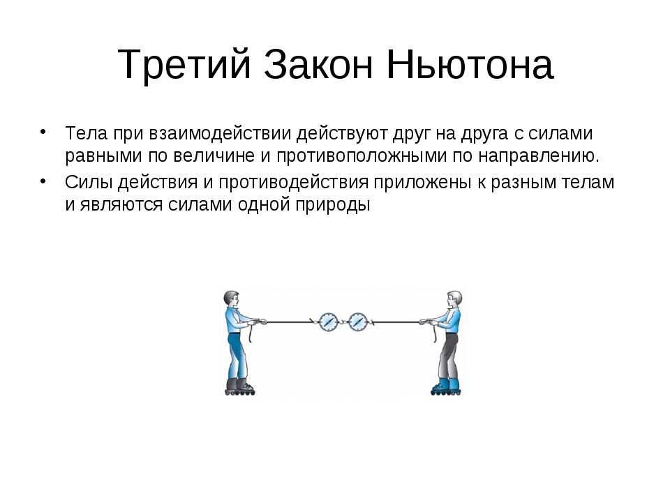 Третий Закон Ньютона Тела при взаимодействии действуют друг на друга с силами...