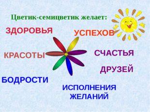 БОДРОСТИ ЗДОРОВЬЯ УСПЕХОВ СЧАСТЬЯ ДРУЗЕЙ ИСПОЛНЕНИЯ ЖЕЛАНИЙ КРАСОТЫ Цветик-се