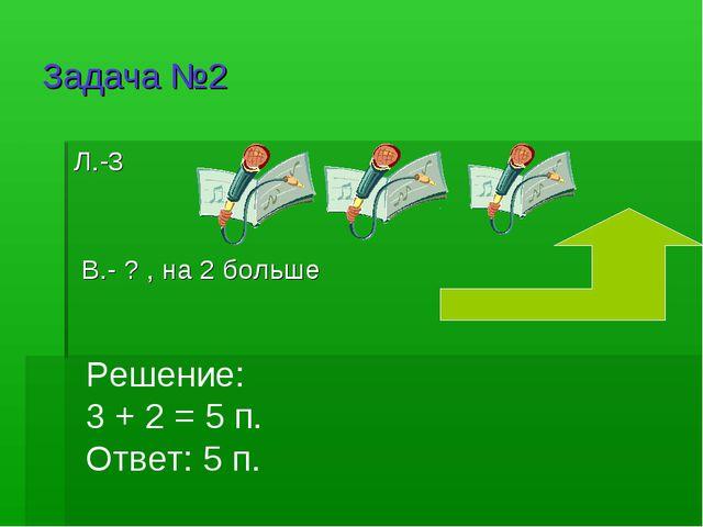 Задача №2 Л.-3 В.- ? , на 2 больше Решение: 3 + 2 = 5 п. Ответ: 5 п.
