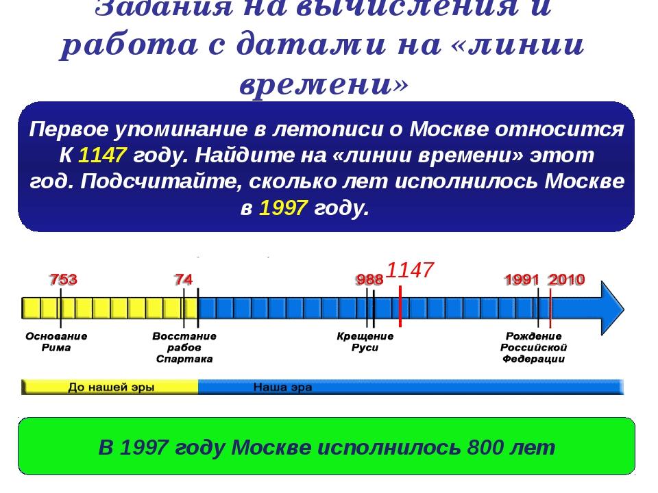 Задания на вычисления и работа с датами на «линии времени» Первое упоминание...