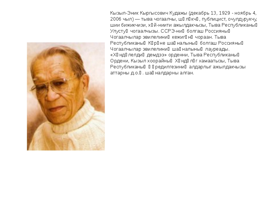 Кызыл-Эник Кыргысович Кудажы (декабрь 13, 1929 - ноябрь 4, 2006 чыл) — тыва...