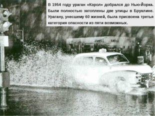 В 1954 году ураган «Кэрол» добрался до Нью-Йорка. Были полностью затоплены дв