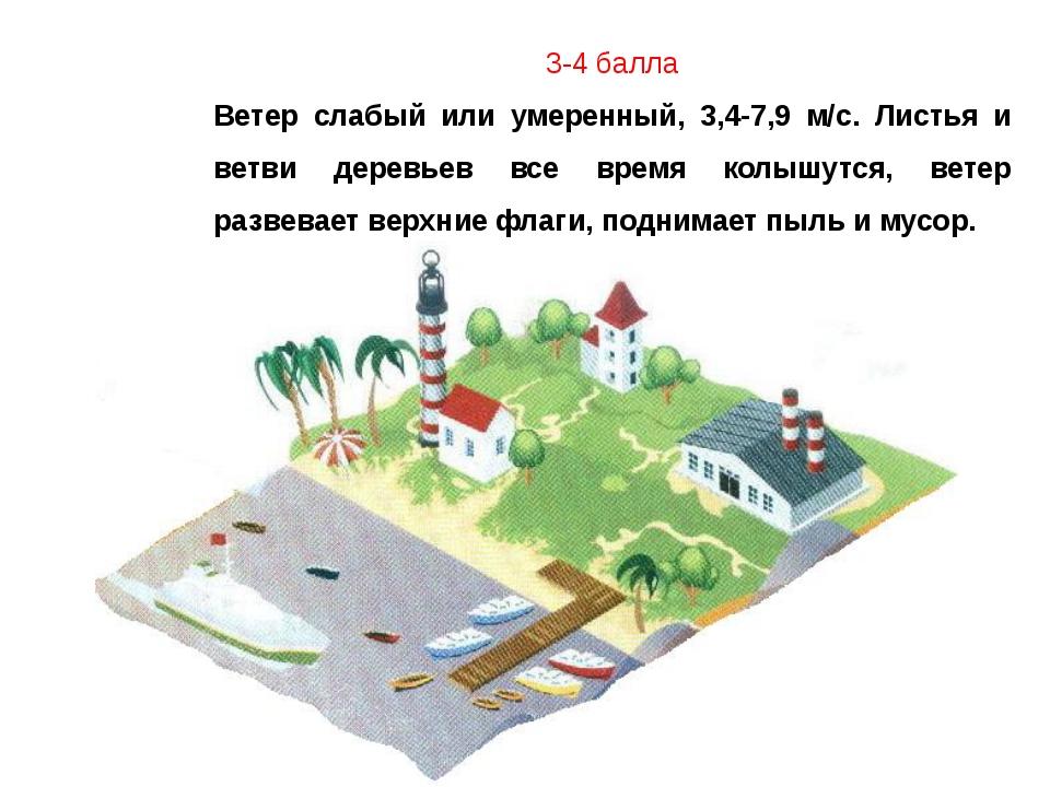 3-4 балла Ветер слабый или умеренный, 3,4-7,9 м/с. Листья и ветви деревьев вс...