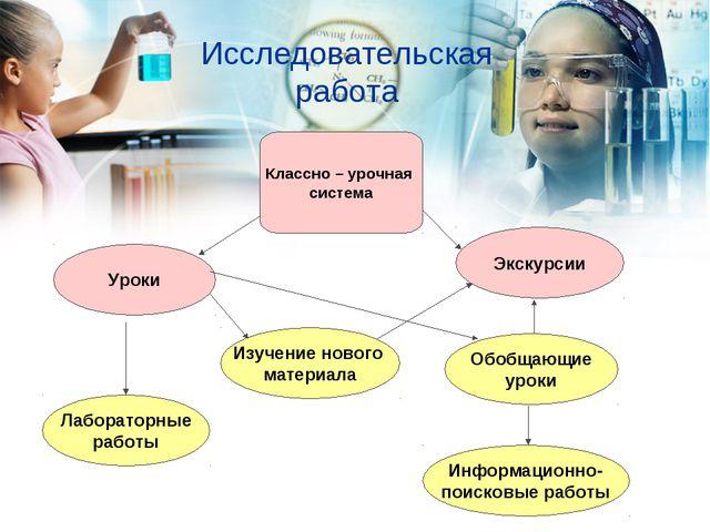 Исследовательская работа Классно – урочная система Уроки Лабораторные работы...