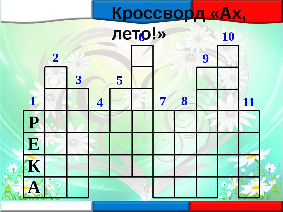 Кроссворд «Ах, лето!» 1 2 3 4 5 6 7 8 9 10 11 РЕКА