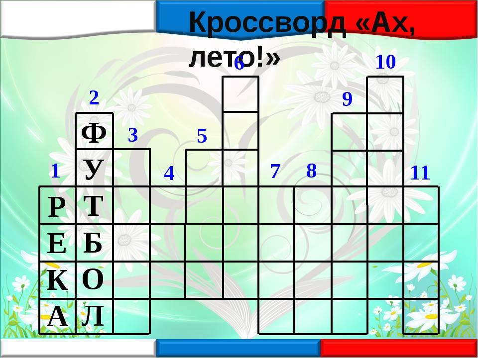 Кроссворд «Ах, лето!» 1 2 3 4 5 6 7 8 9 10 11 РЕКА ФУТБОЛ