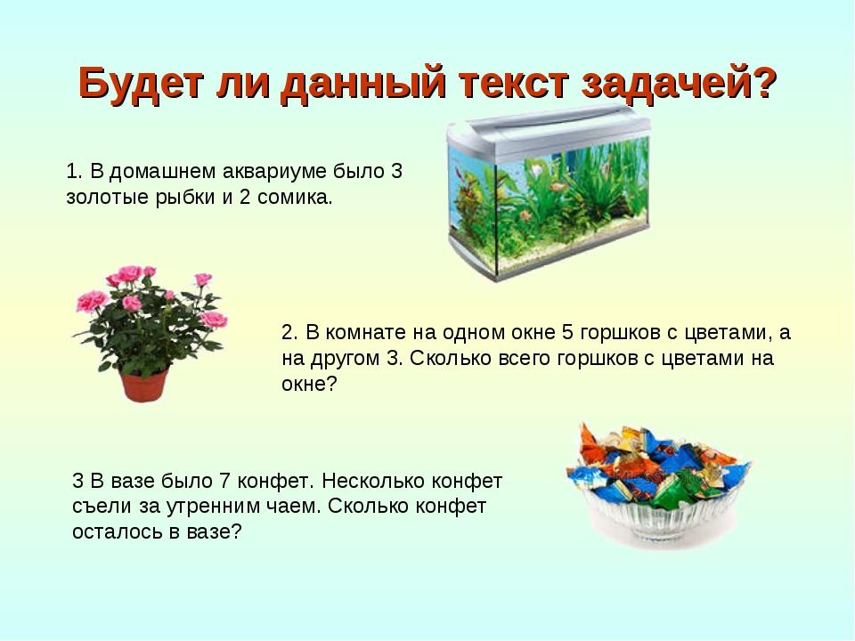 Будет ли данный текст задачей? 1. В домашнем аквариуме было 3 золотые рыбки и...