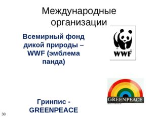 Международные организации Всемирный фонд дикой природы – WWF (эмблема панда)
