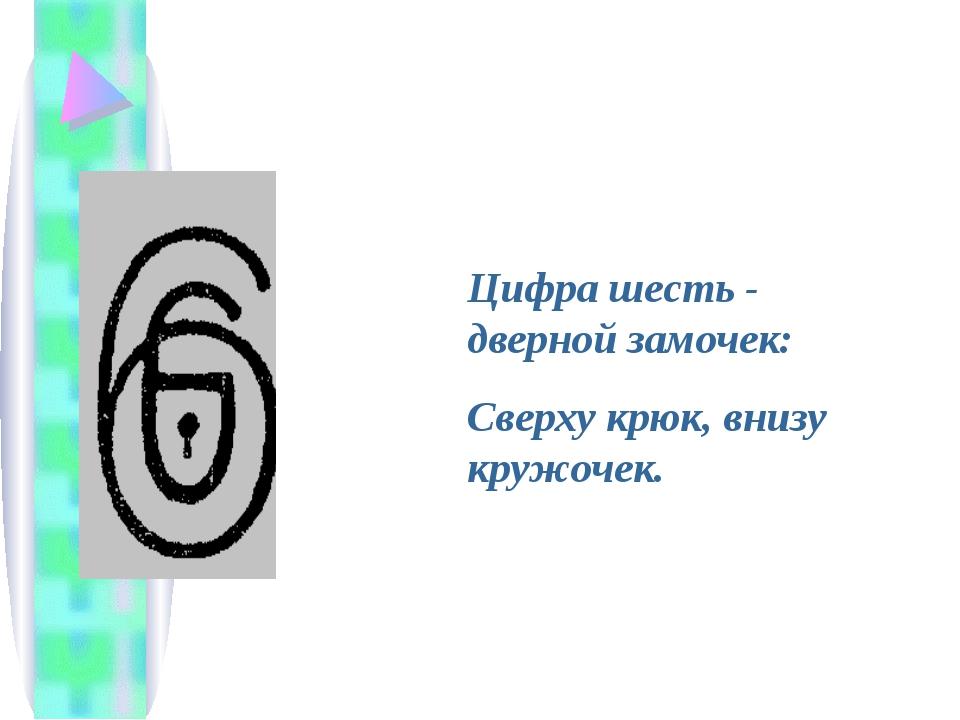 Цифра шесть - дверной замочек: Сверху крюк, внизу кружочек.