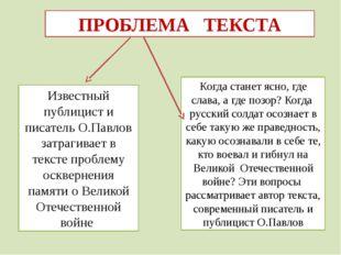 ПРОБЛЕМА ТЕКСТА Известный публицист и писатель О.Павлов затрагивает в тексте