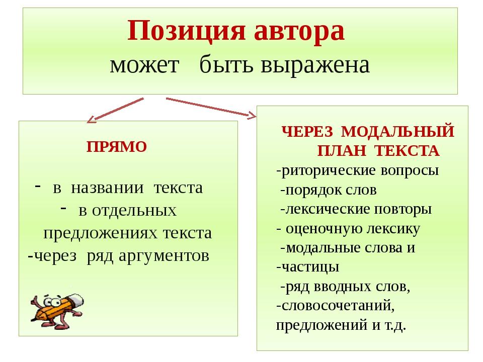 Позиция автора может быть выражена ПРЯМО в названии текста в отдельных предло...