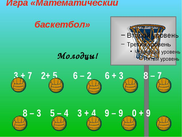 Молодцы! Игра «Математический баскетбол» 3 + 72+ 5 6 – 2 6 + 3 8 – 7 8 –...