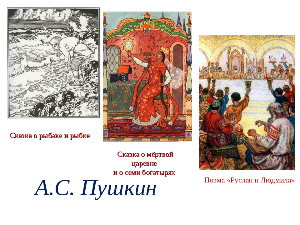 Сказка о рыбаке и рыбке Сказка о мёртвой царевне и о семи богатырях Поэма «Ру...