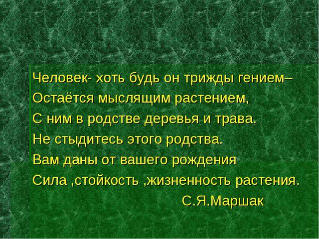 Человек- хоть будь он трижды гением– Остаётся мыслящим растением, С ним в род...