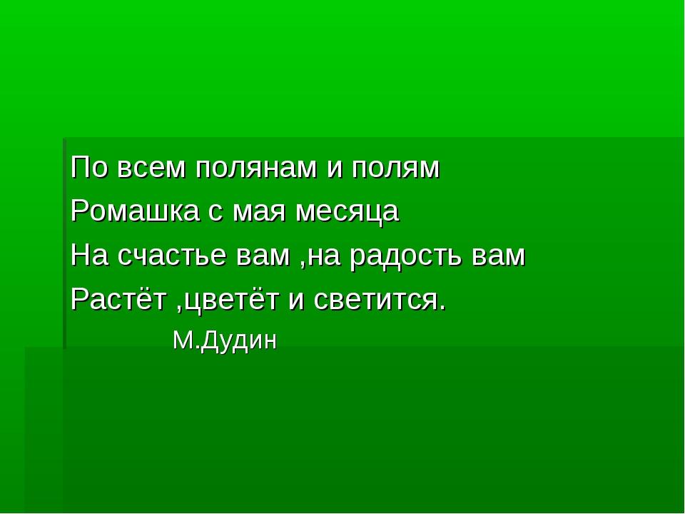 По всем полянам и полям Ромашка с мая месяца На счастье вам ,на радость вам Р...