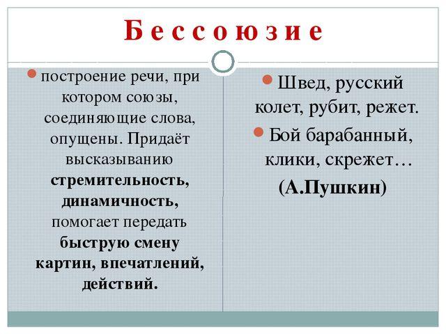 Б е с с о ю з и е построение речи, при которомсоюзы, соединяющие слова, опущ...