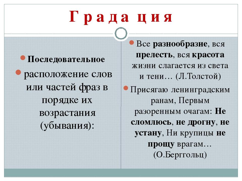 Г р а д а′ ц и я Последовательное расположение слов или частей фраз в порядке...