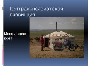 Центральноазиатская провинция Монгольская юрта